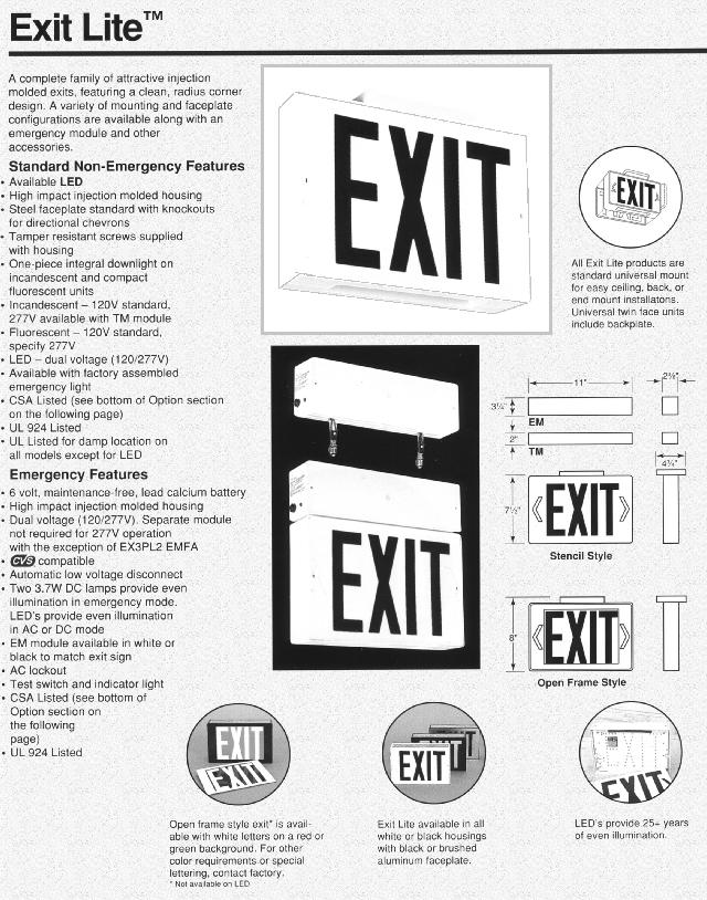 Prescolite Exit Signs Emergency Exits