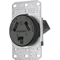 HUW RR330F RECPT SB 30A 125/250V 3P3W FLNG BK